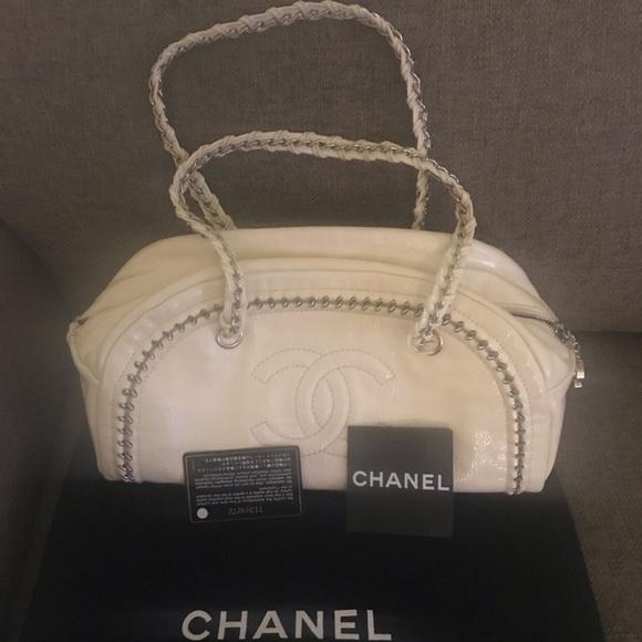 b40117e4d034 CHANEL Bags | Cream Patent Bowler W Cardsdust Bagcert | Poshmark